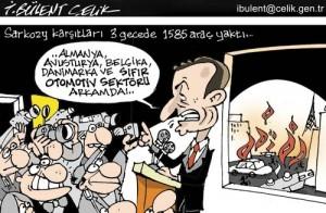 Sarkozy ve yakılan otomobiller